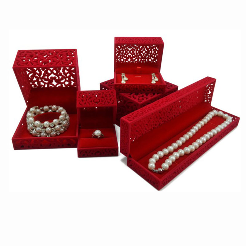 5pcs/set Red Velvet Jewelry Box Ring Earring Pendant Necklace Bracelet Gift box Jewelry Organizer Storage Boxes Display Holder free shipping high grade empty rose red jewelry boxes ring pendant bracelet necklace packing box