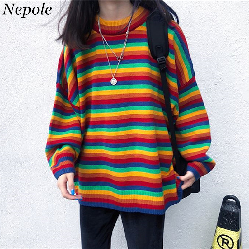 Neploe Women Sweater Pullover Stripped Rainbow-Color Sueter Knitted Loose Sweet Casual