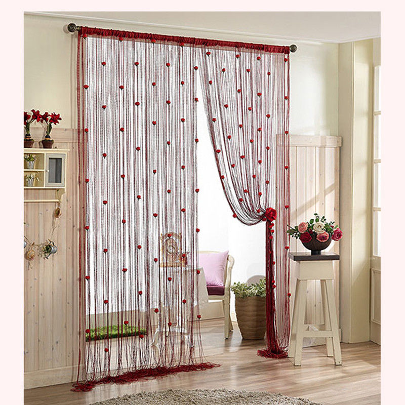 100*200cm Rose Curtain Romantic Rose Floral String Flower