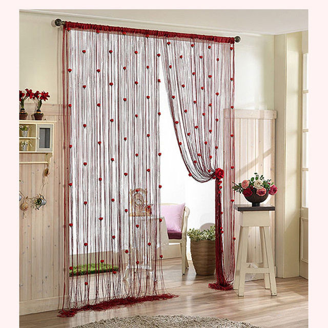 100200cm Rose Curtain Romantic Rose Floral String Flower Design