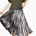 Girls Pleated Metal Shiny Silver Skirt Women Casual Vintage Mid-long A-Line Metallic Suede Skirts Female Autumn/Winter Skirts