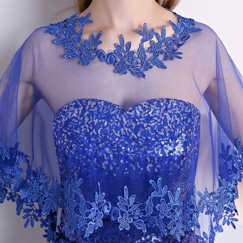 Causa Delle Donne Avvolge Giacca In Tulle Royal Blue Lace Appliqued Scialle Selvaggio Delle Donne Wrap Top