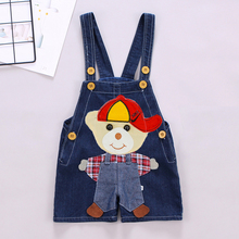 DIIMUU Newborn Baby Clothing Boys Girls Clothes Overalls Denim Shorts Cartoons Pants Casual Jumpsuits Cute Printing Bottoms