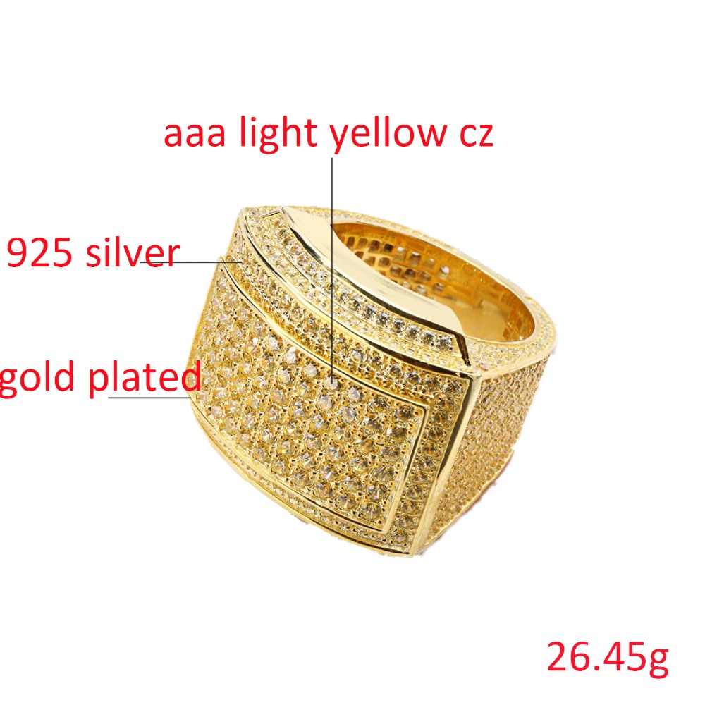 VANAXIN 925 Silver Rings For Men Bling Bling CZ Rhinestone Gold/Silver Color Jewelry Masculine Ring Night Bar Club Crystal Gift