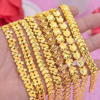 Cadeia de Mão das mulheres Pulseiras Do Sexo Feminino Por Atacado Bijoux mulheres pulseira Elo Da Cadeia Pulseira Para As Mulheres de Jóias da Cor do Ouro