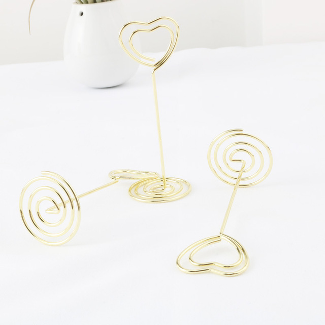 hot-24 Pack of Table Number Card Holders Photo Holder Stand Place Card Paper Menu Clips Holders, Gold Heart Shape 5
