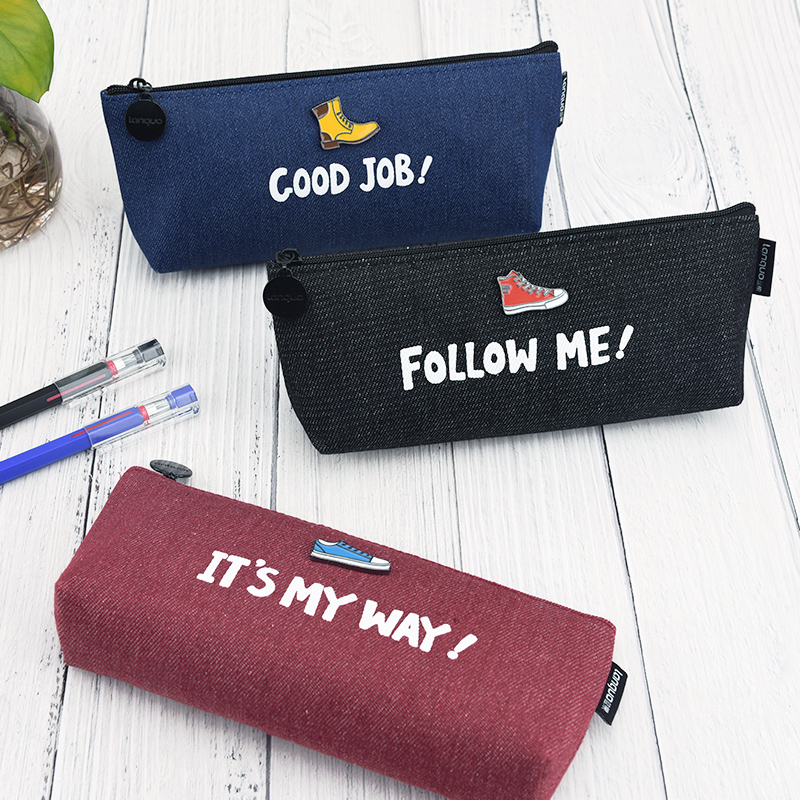 Cool Canvas Pencil Bag Case Large Capacity Pen Stationery Organizer Makeup Cosmetic Pouch Bags for Boys School Supplies 1pcs large capacity pencil case canvas 120 slots 4 layers school pencil bag art marker pen holder coloring pencils organizer