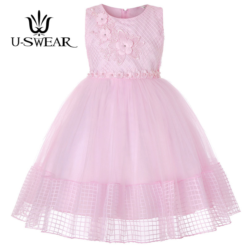 U-SWEAR 2019 New Arrival Kid   Flower     Girl     Dresses   O-neck Sleeveless   Flower   Appliqued Pearls Beaded Lace Chiffon Ball Gown Vestido