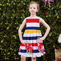 Girls Dresses with Sashes 2017 Brand Summer Girl Party Dress Princess Costume Children Striped Flower Robe Fille Kids Clothes