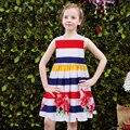 Vestidos de las muchachas con Los Marcos 2017 Marca Summer Party Girl Dress Princesa Niños Traje A Rayas Flor Robe Fille Ropa de Los Cabritos