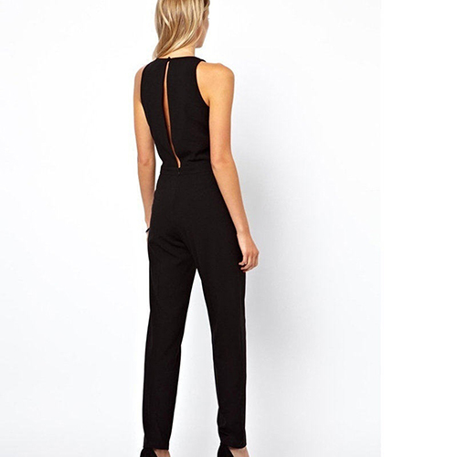bf0c5a0aa3b New Women s Elegant Invisible Zipper Behind Hollow A Button Long Pants  Romper Jumpsuit-in Jumpsuits from Women s Clothing on Aliexpress.com