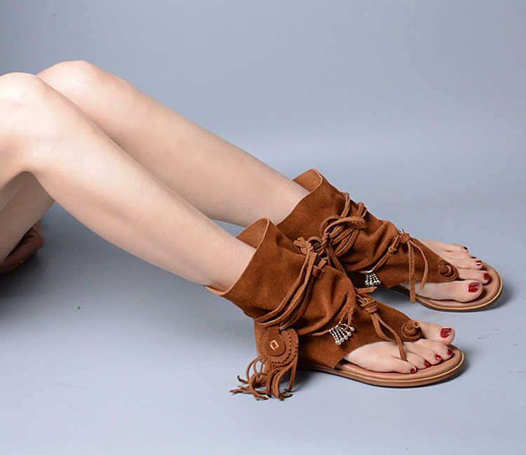 ef6be69e1446 ... Prova Perfetto Bohemia Lady Summer Sandalias Thong Slip On Tassel  Fringe High Quality Suede Leather Boots ...