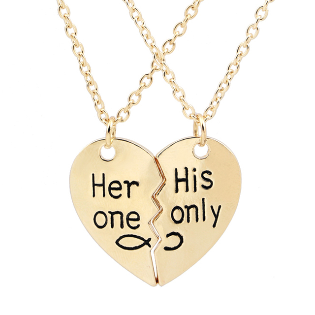 3dedf94738e4e US $0.78 17% OFF|her one his only couple Necklaces Gold silver plated  jewelry Heart 2 Pcs Statement Necklace Gift for lovers boyfriend  girlfriend-in ...