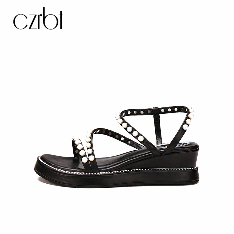 CZRBT Pearl Thick Bottom Women Sandals 2018 Summer Sweet Slip On Women Shoes Genuine Leather Wedges Peep Toe Sandalias Shoes designer women sandals summer creepers platform shoes peep wedges genuine leather slip on chaussure femme