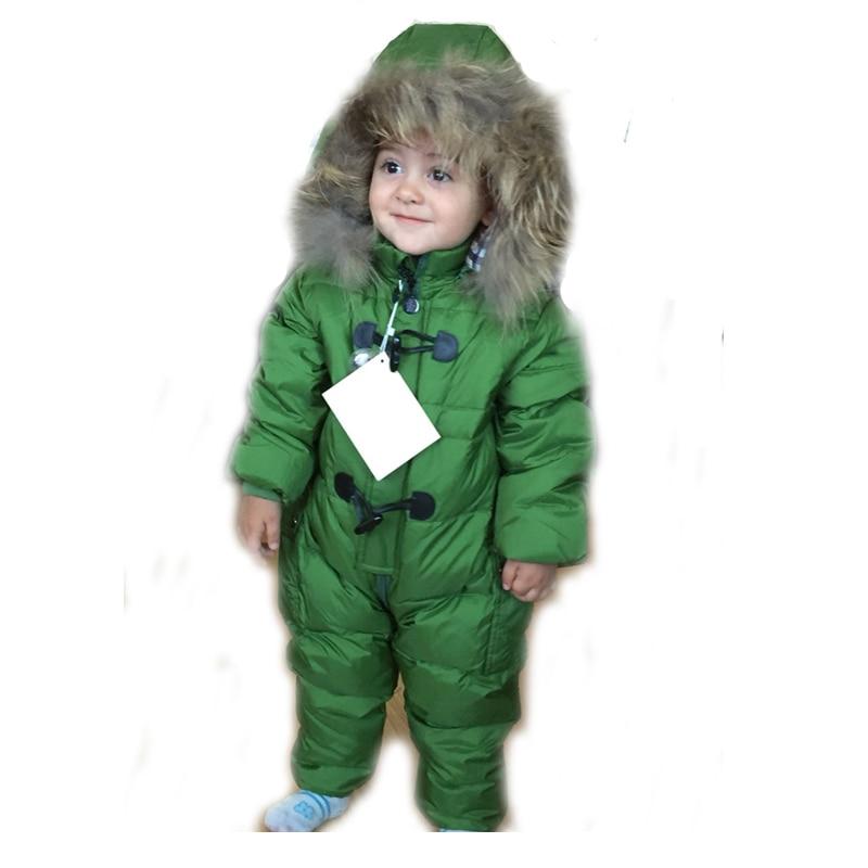 a1eed1d6c 0~3Years Baby Girl Snowsuit Boy White Duck Down Romper Bebes Hoodie ...