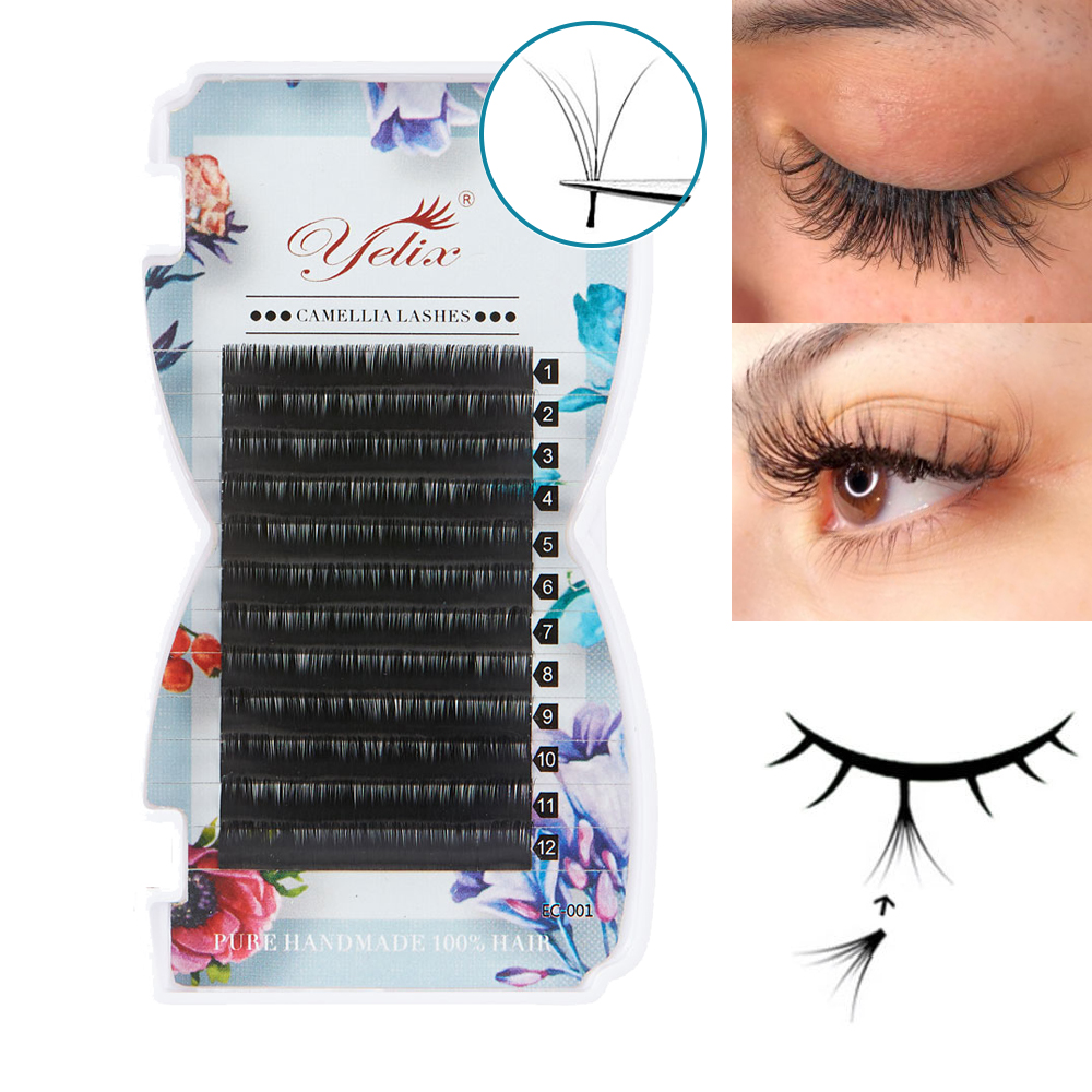 Yelix mega Volume Lashes Extension For Professionals Self-making Fans 3d-6d Mink Eyelash Extension Tray Eye Lashes Makeup