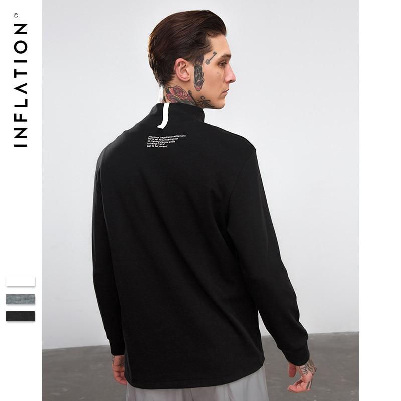 INFLATION New Fashion High-elasticity Sporting   T  -  shirt   Letter print Solid Long Sleeve Dress   T  -  shirt   Hight Street Men Tee 8701W