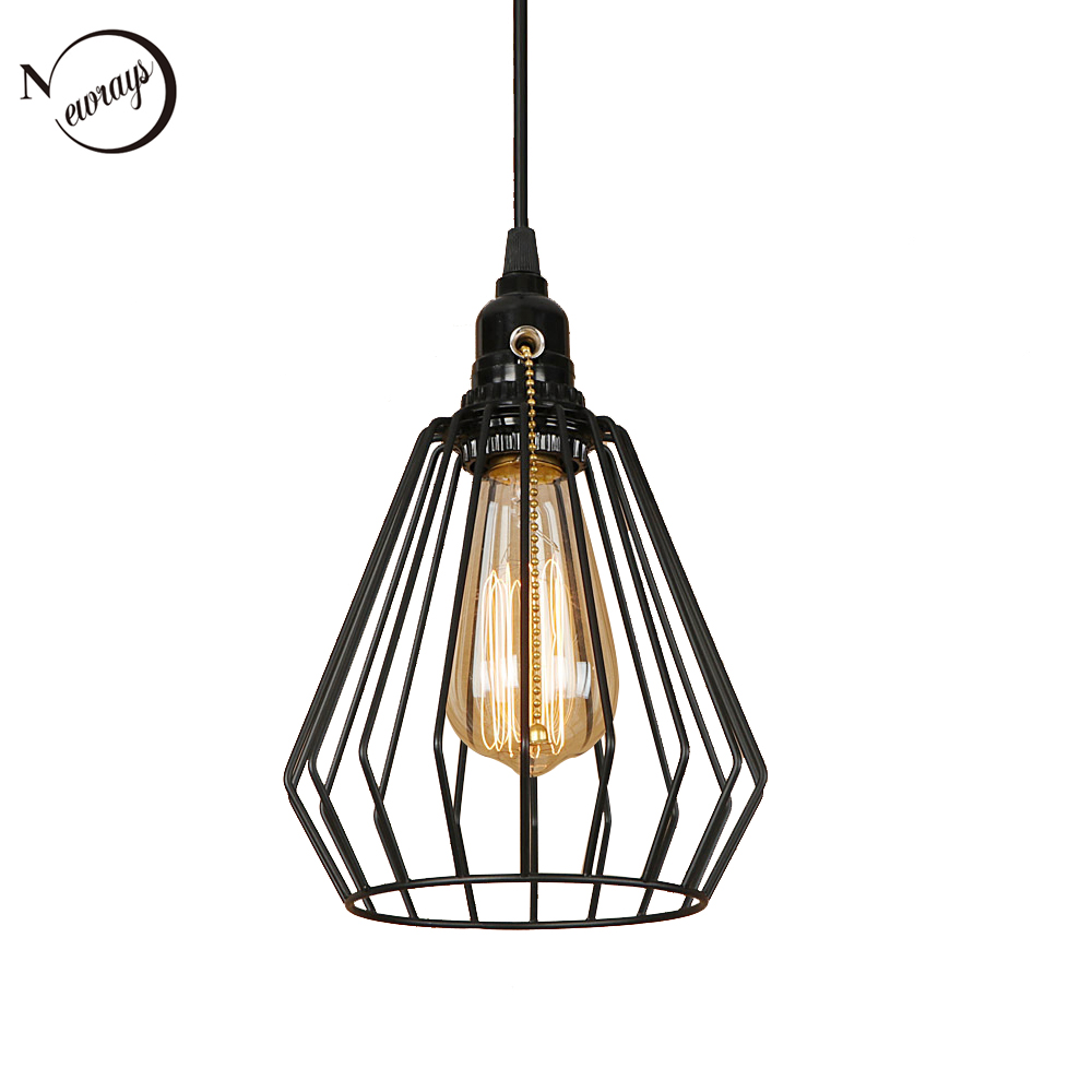 Modern black cage pendant light LED E27 industrial vintage hanging lamp with switch for living room restaurant bedroom aisle bar industrial art deco iron black pendant light led e27 loft vintage hanging lamp with switch for living room restaurant bedroom