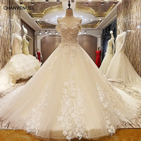 LS95678 champagne suknia ślubna luksusowe zroszony gorset powrót sweetheart linii aplikacje bridal suknia ślubna real zdjęcia