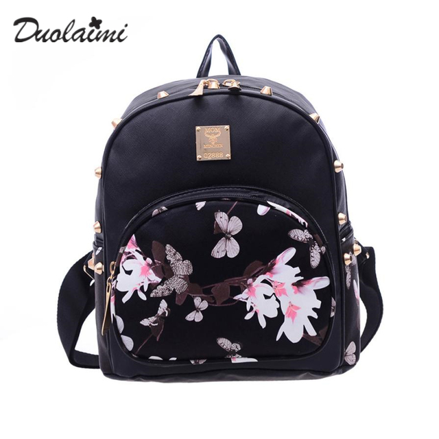 fa87336a48db Foral Butterfly PU Leather Backpacks for girls small bag Female flowers  Wing backpack Mochilas Escolares feminine