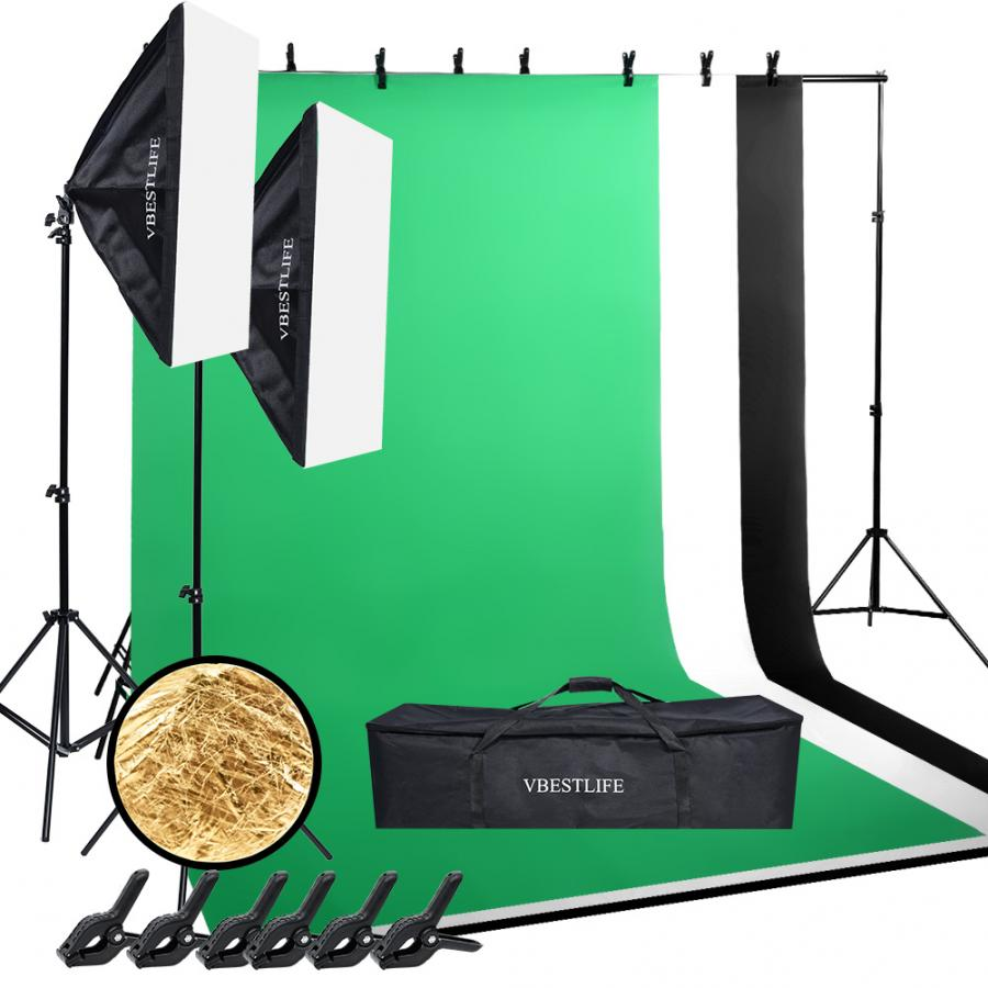 Photo Background Studio Kit=2*3m Backdrop Stand+1.6*3m Backdrop+50*70cm Softbox+135W Light Bulb +Stand+Clamp+Reflector Panel+Bag