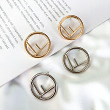 10 pair / lot fashion jewelry high quality gold metal F alphabet letter earrings(China)