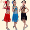 Nueva Lentejuela Fringe Vestido de Niño de Las Muchachas Niños Vestidos de Salsa del Salón de Baile Latino Salsa Dancewear Vestido de Fiesta Trajes de Danza Latina