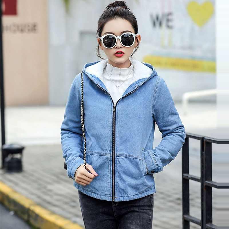 Herfst Winter Jas Vrouwelijke Nieuwe 2019 Vrouwen Wollen voering jean Jas Warm Bomber Jacket Hooded Uitloper rits Denim Jas voor vrouwen