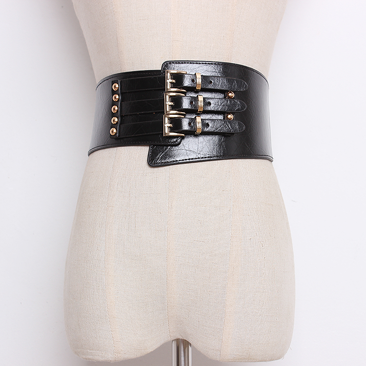 Women's Runway Fashion Elastic PU Leather Cummerbunds Female Dress Corsets Waistband Belts Decoration Wide Belt R1359