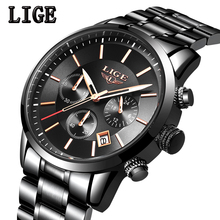 LIGE New Watch Analog Quartz Watches Men Top Brand Luxury Mens Watches Stainless Steel Waterproof Wristwatch Relogio Masculino