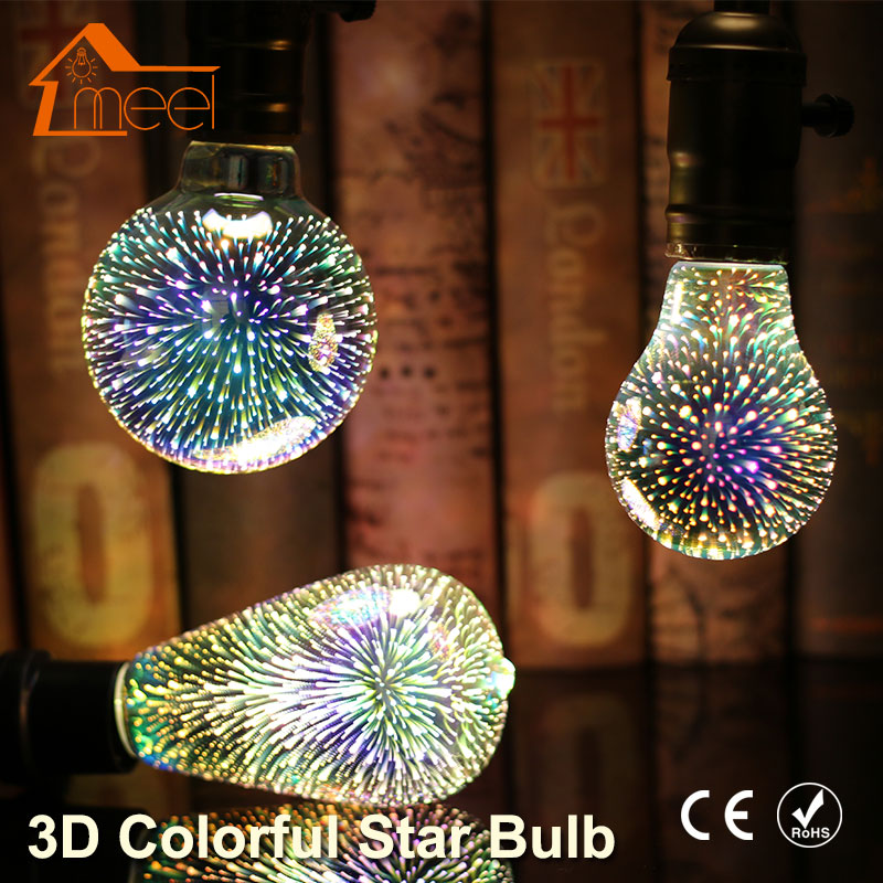 Party 3D Star LED Edison Bulb 220V Silver Plated Glass Colourful E27 LED Lamp Holiday Christmas Decoration Retro Filament Light led light bulb edison 3d decoration silver holiday christmas decoration night bar glass led lamp 3w 5w candle lamparas bombillas