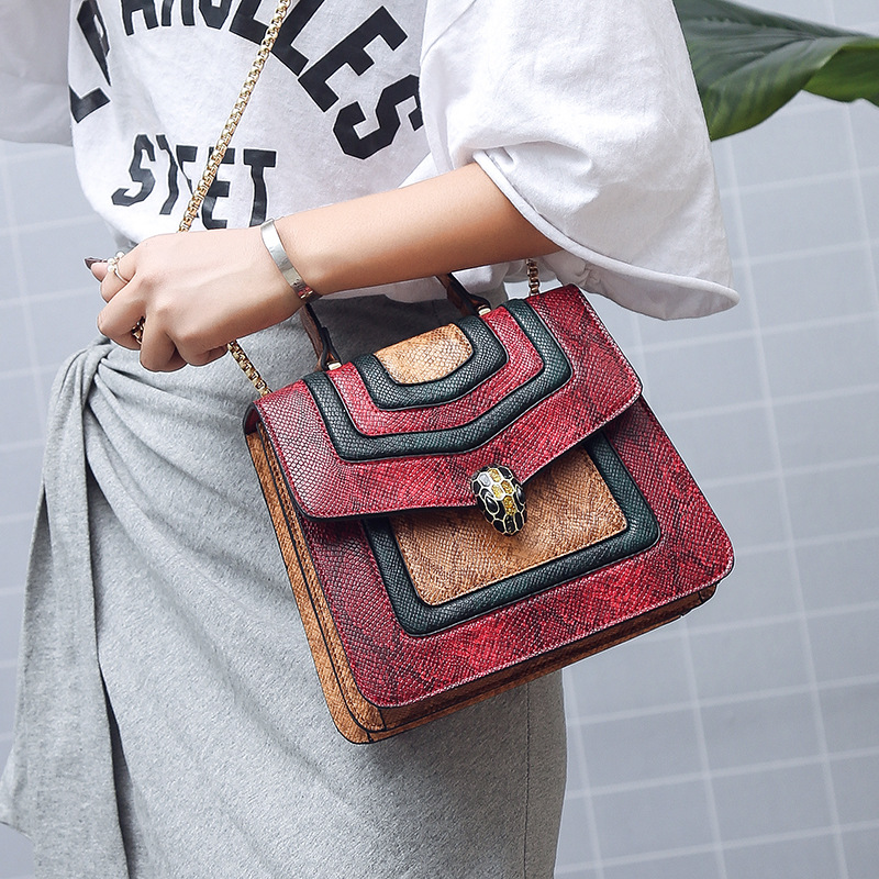 New Arrival Trendy Shoulder Snake Small Square Bag Magnetic Buckle Handbag Chain Fashion Shoulder Bag Crossbody Bags for Women 3