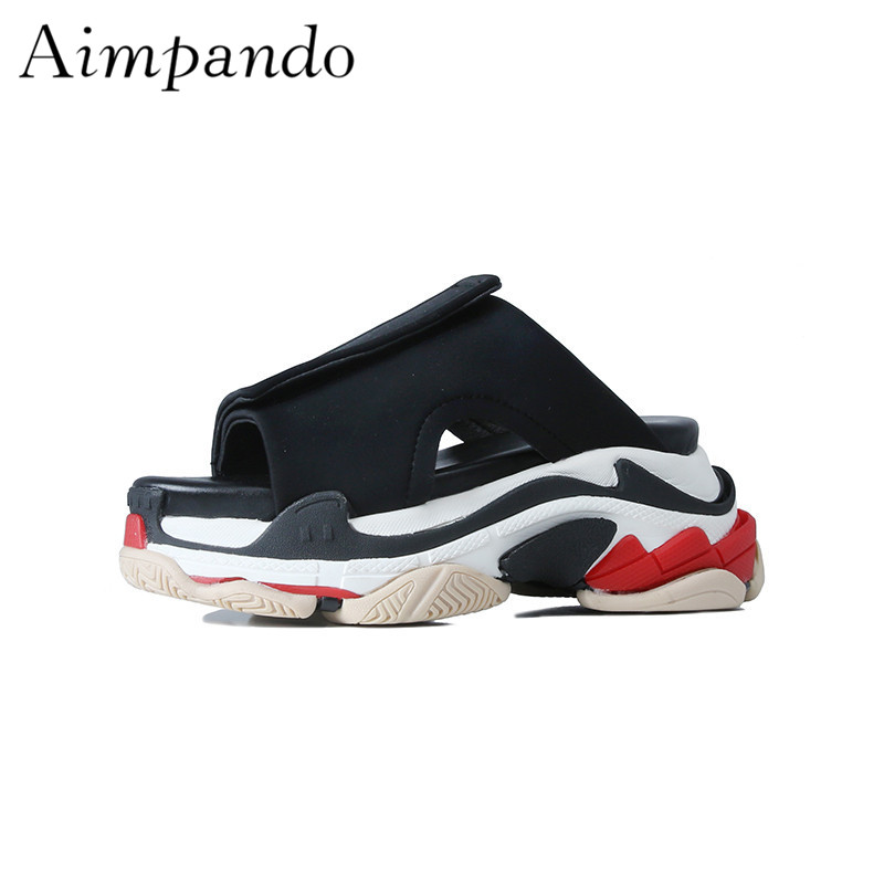 2018 New Arrival Thick Heel Flat Platform Shoes Lover Style Hook Loop Outwear Waterproof Fashion Slippers Women