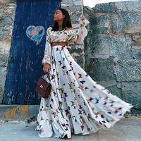 Print Off Shoulder Summer Long Dress Women High Waist Ruffle Maxi Dress Elegant Party Dress Female Floor Length Vestidos 2019
