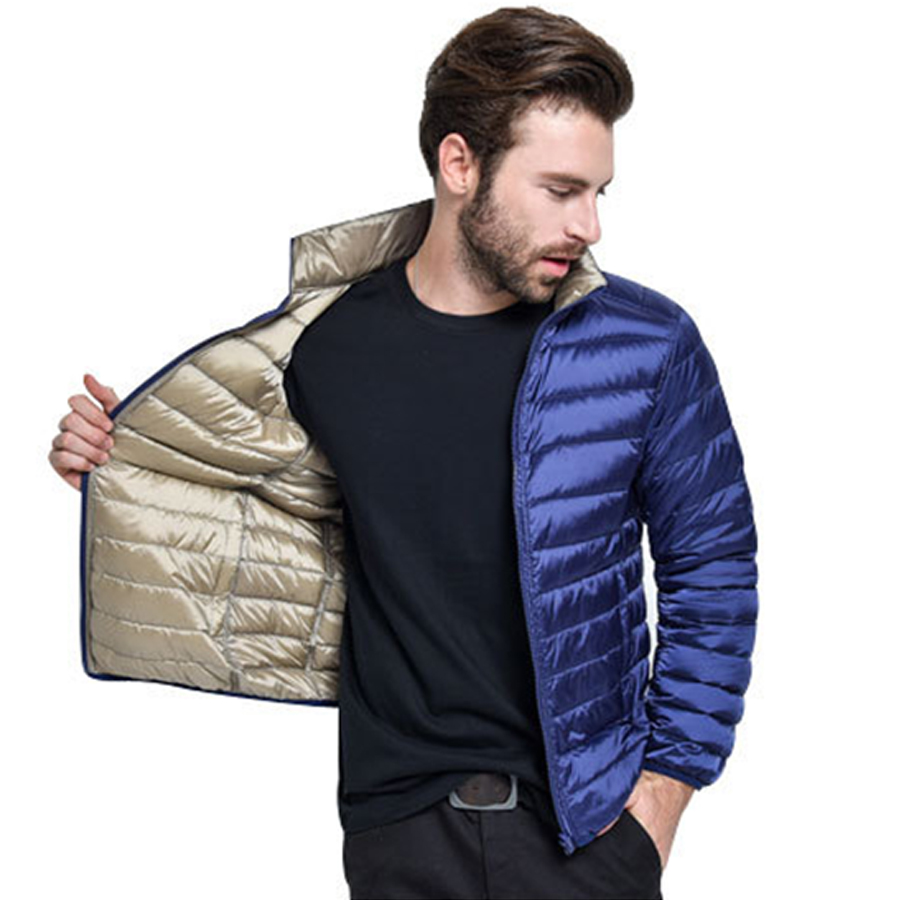 Two-side Wear Duck Down Jacket Men 90% Content Thin Ultra Light Down Jacket Winter Long Sleeve Solid Winter Coats Pocket Fashion