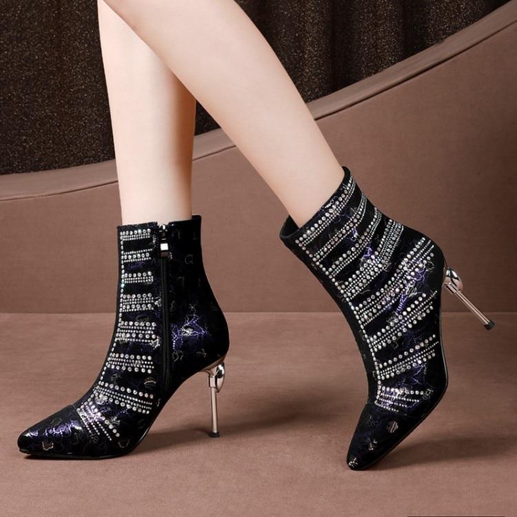 Chaussons Mince Suède {zorssar} Bottes Talons Banquet Cuir Chaussures De Femme bleu Strass Cheville Femmes En D'hiver Sexy Mode Noir A5w58rqZf