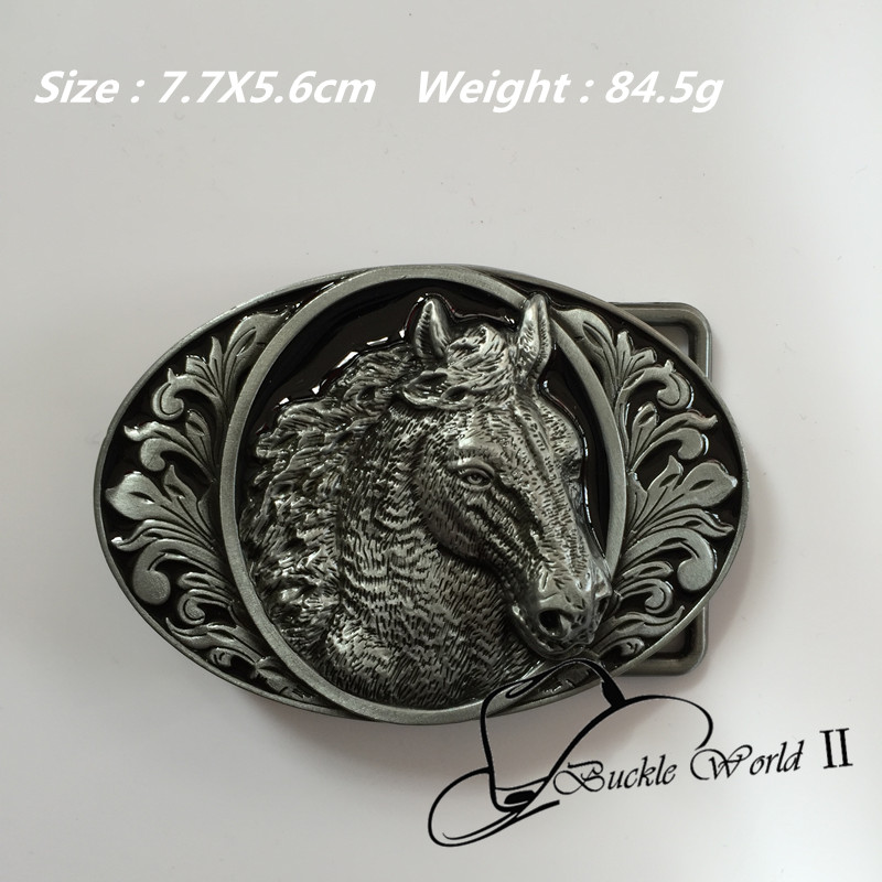 High quality Oval Cool 3D Horse Head belt buckle 77*56mm 84.5g Silver Black Metal For 4cm Wide Belt Men Women Jeans accessories