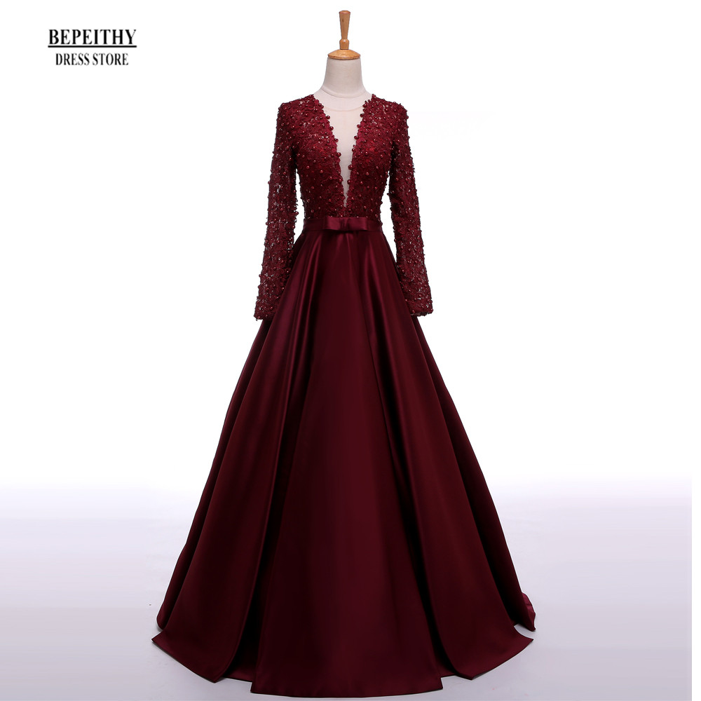 Enchanting Long Sleeve Prom Dresses V Neck Sheer Back Lace Evening Party Dress A Line Vestido