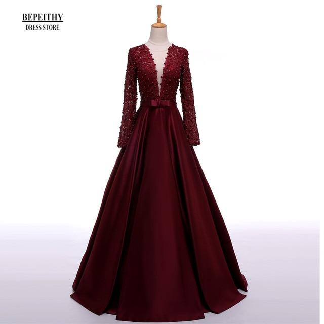 Enchanting Long Sleeve Prom Dresses V-Neck Sheer Back Lace Evening Party  Dress A-Line Vestido De Festa Cheap Long Prom Dresses db6a281b006d