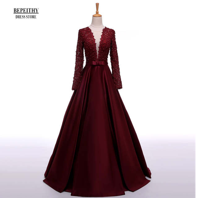 Enchanting Long Sleeve Prom Dresses V-Neck Sheer Back Lace Evening Party  Dress A- 2e25a57d87f0