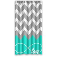 Love Infinity Forever Love Symbol Chevron Pattern Turquoise Grey White Waterproof Bath Fabric Shower Curtain