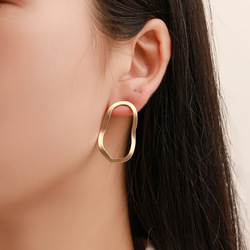 E532 Simple Fashion Gold Color Silver Plated Geometric Big Oval Earrings For Women Fashion Big Hollow Drop Earrings Jewelry