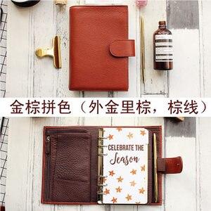 Image 4 - Lederen Ringband Notebook A6 Handgemaakte Persoonlijke Agenda Organisator Koeienhuid Dagboek Journal Sketchbook Planner Geld Pocket