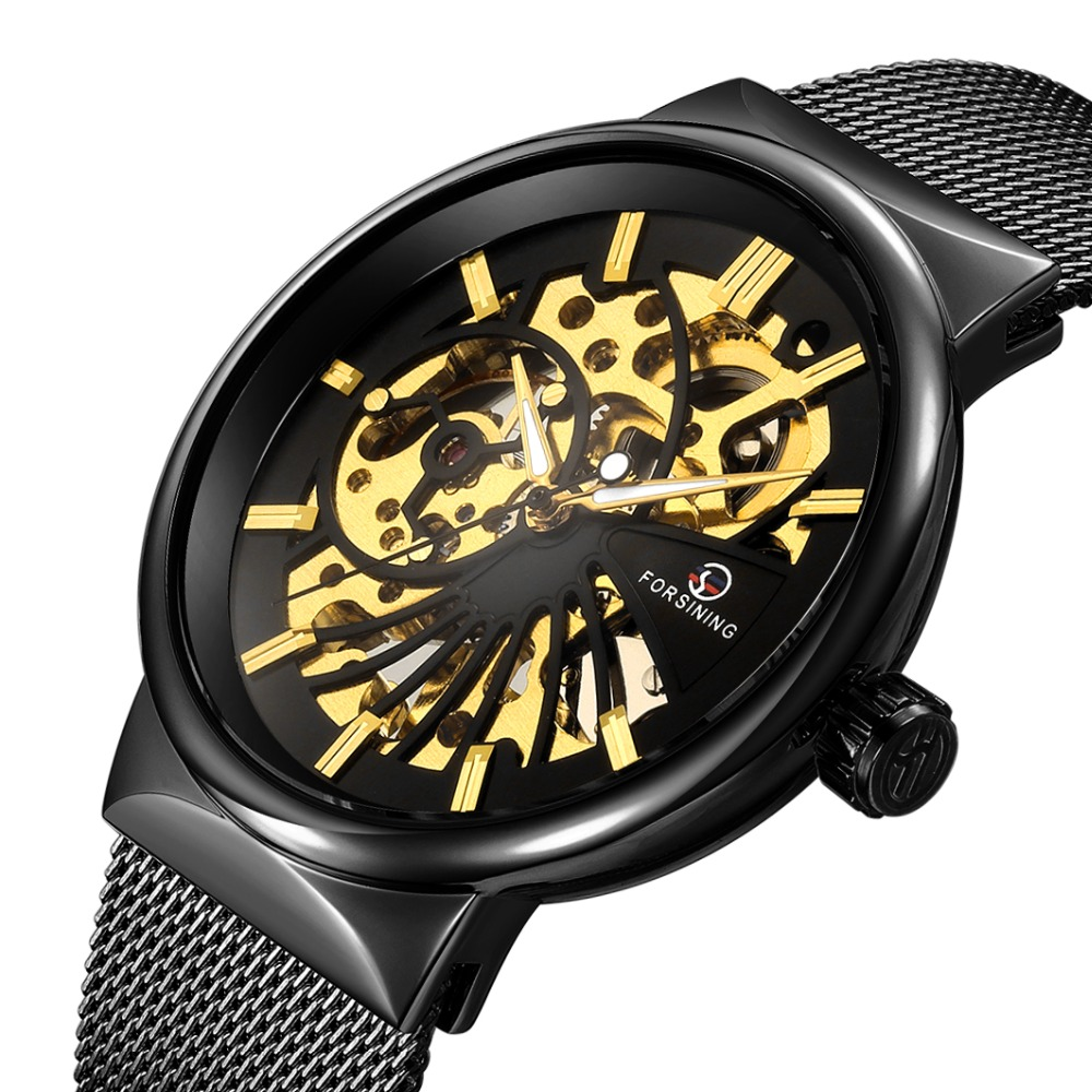 Luxury Brand Watches Men Mechanical Watch Ultra thin Hand-wind Mechanical Skeleton Wristwatch Mesh Net Band Watch Male Clock ks black skeleton gun tone roman hollow mechanical pocket watch men vintage hand wind clock fobs watches long chain gift ksp069