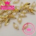 2015 News 20pcs/lot 7*15mm gold fluted metal nail art decorations big pearl design 3D alloy nail art charms 3D nail jewelry ,DIY