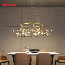 LED Modern firefly big Circle Round Ring pendant lamp stylish tree branch pendant lamps decorative hanging Led pendant lighting цена