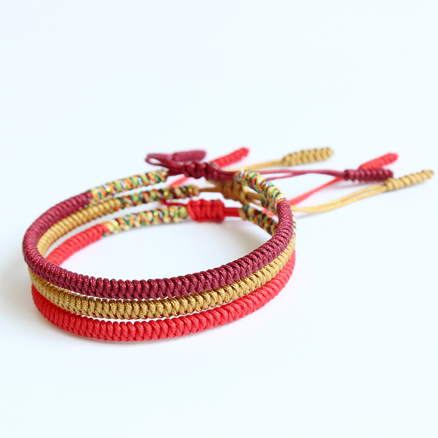 Eastisan Handmade Multi Color Tibetan Buddhist Braided Bracelet Knot Lucky Rope Bangle For Men Women Size