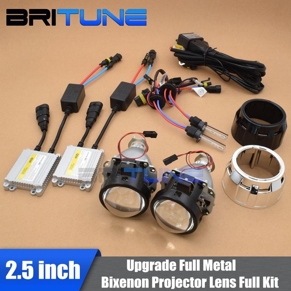 2.5 pouces mise à niveau Leader complet en métal HID phare bi-xénon projecteur lentille phare complet kit H4 H7 4300K 6000K 8000K voiture phare