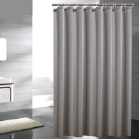 Grey Polyester Shower Curtain Eco Friendly Waterproof Mold Proof Solid Bathroom Curtains With Hooks Home Decor