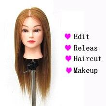 Straight Synthetic Hair Training Practice Head Styling Dye Cutting Mannequin Manikin Salon Beauty Tool